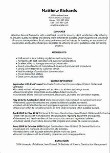 1 general contractor resume templates try them now for Contractor resume template