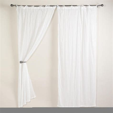 white crinkle voile curtain panel home decorating