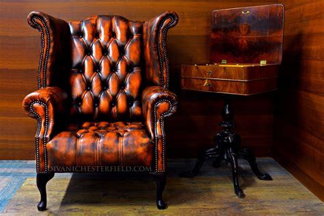 Poltrona Chesterfield Vintage Pelle Arancione Nuova