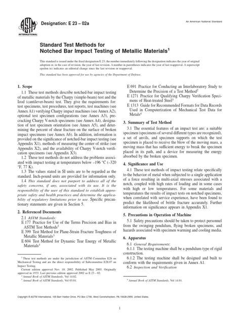 ASTM E23-02a - Notched Bar Impact Testing of Metallic
