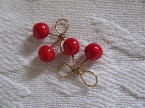cherry bow earrings     dangle earring