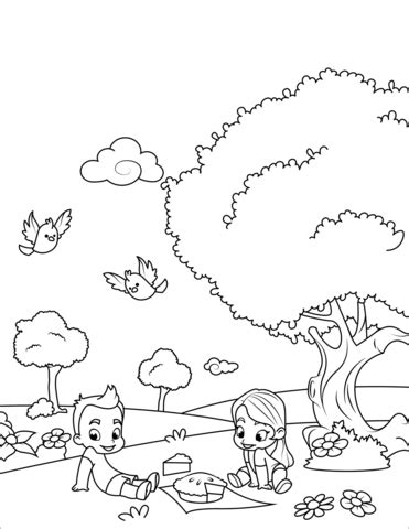 boy  girl   picnic coloring page  printable coloring pages