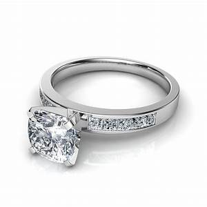 channel set princess cut engagement ring With channel wedding rings