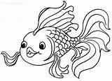 Coloring Goldfish Printable Fish Cool2bkids sketch template