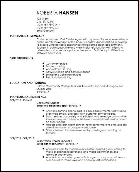 call centre agent customer service resume call center resume