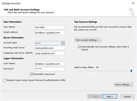 Office 365 Mail Change Password by Email View Change Imap Smtp Options In Outlook 365