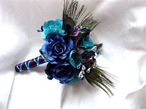 Peacock Feather Wedding Bouquet Turquoise Purple Eggplant