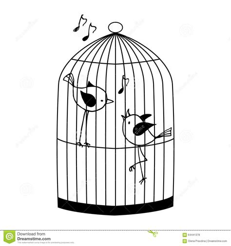 Kleurplaat Vogelkooi by Two Birds In A Cage Stock Vector Illustration Of Outline
