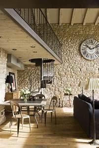 la deco avec pierre apparente salon style industriel With decoration interieur avec pierre