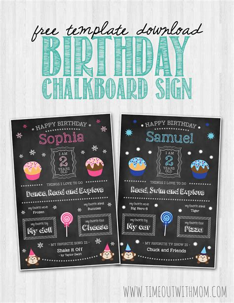 birthday chalkboard template birthday chalkboard sign template and tutorial