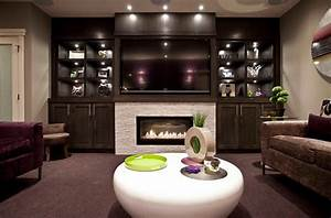 Fireplace with built in shelves family room contemporary