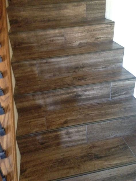 wood tile stairs tile stairs wood look tile and stairs on
