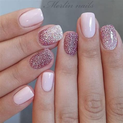 glitter gel nail designs  short nails  spring