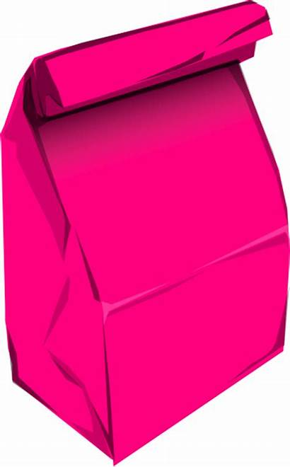Bag Clipart Lunch Paper Clip Pink Sack