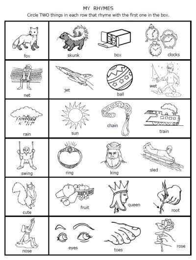 free nursery rhyme worksheets for kindergarten a dozen free rhyming words worksheets from