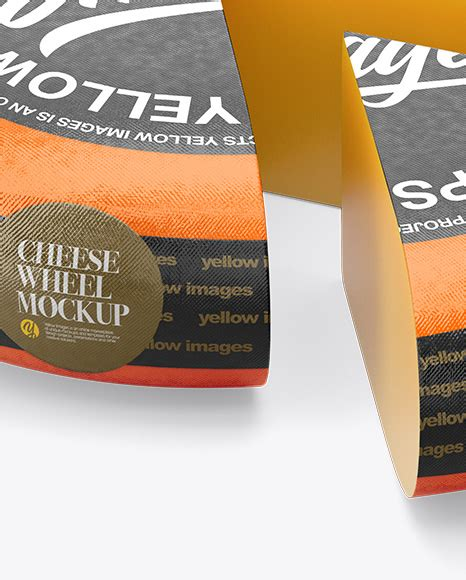Sliced cheese mockup 42696 tif. Cheese Wheel Mockup in Packaging Mockups on Yellow Images ...