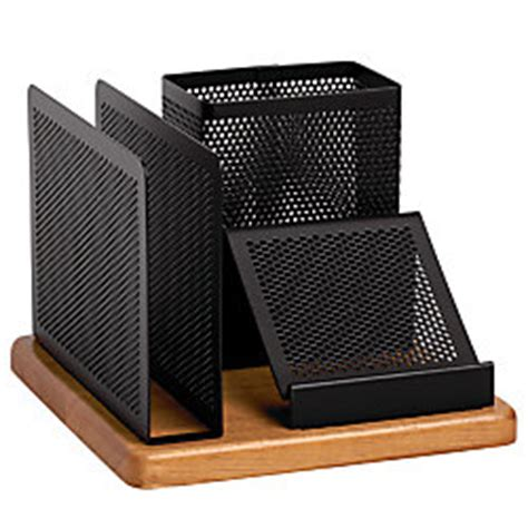 office max desk organizer rolodex distinctions punched metal and wood desk organizer