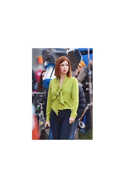 Ellie Kemper Chase Commercial Filming Square Times
