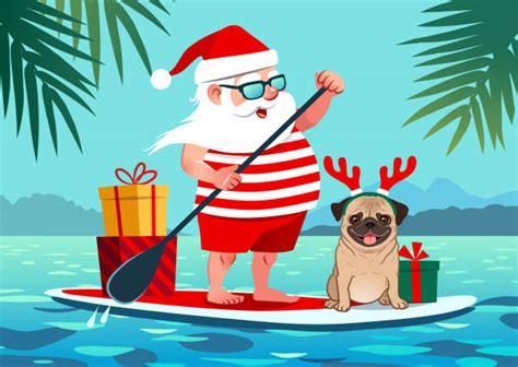 santa beach illustrations royalty  vector graphics