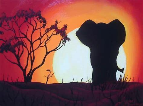 elephant silhouette sunset painting elephant sunset painting artsy