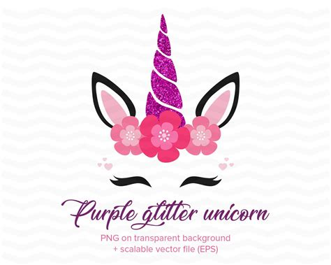 glitter unicorn face clipart purple shimmering unicorn