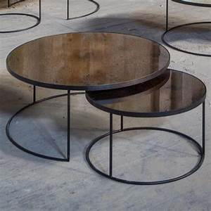 Bronze round nesting coffee table set habitusfurniturecom for Round stacking coffee table