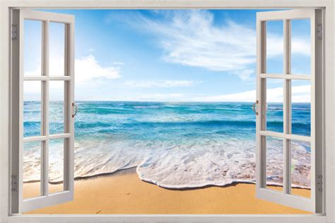 3d Window Ocean View Blue Sea Home Decor Wall Sticker: Home Decor Art Vinyl 3d Window New Beach Mural Wall Decals