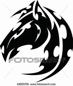Clipart of Mustang Stallion Horse Tribal Tattoo Vector ...