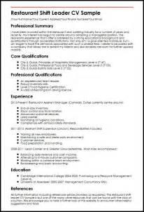 resume format for team leader position in bpo restaurant shift leader cv sle myperfectcv