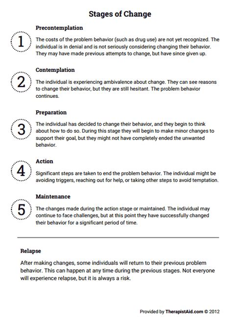 stages  change worksheet therapist aid