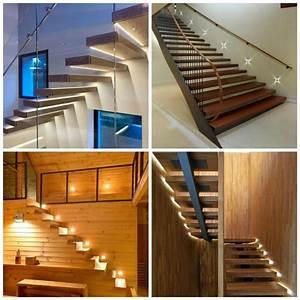 Décoration D Escalier Intérieur : escalier int rieur quelques id es d 39 clairage moderne ~ Nature-et-papiers.com Idées de Décoration