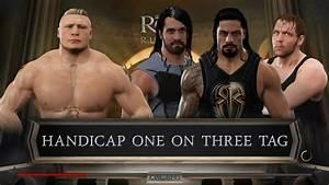 WWE 2K17 - Brock Lesnar Vs The Shield! Handicap Match ...