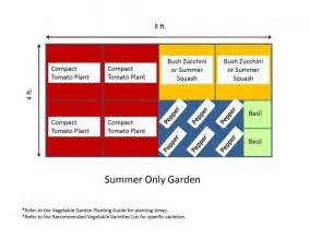 4x8 summer only backyard vegetable garden layout plans