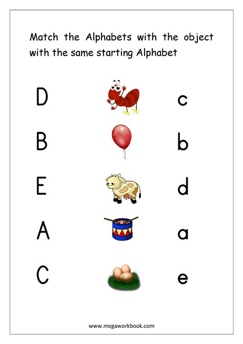 english worksheets alphabet matching megaworkbook