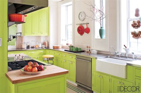 lime green cabinets  red accents interiors  color