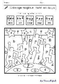keith haring coloriage magique sur les lettres p