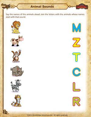 animal sounds kindergarten science worksheet school of