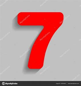 Number 7 sign design template element Vector Red icon
