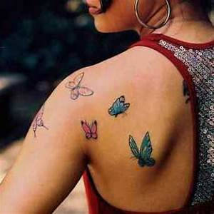 Colored Butterfly Tattoos On Left Back Shoulder