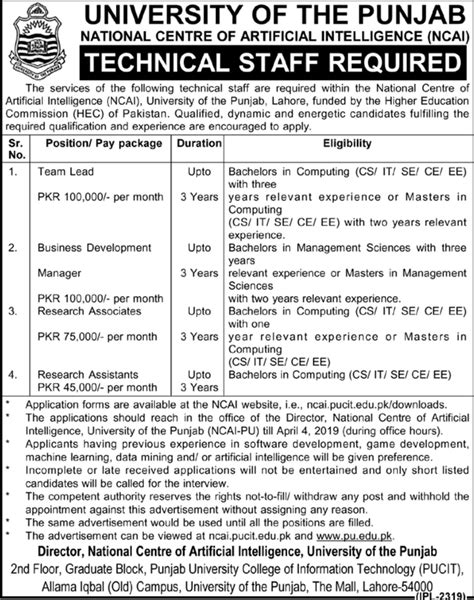 University of Punjab Jobs 2019 PU NCAI Latest - PaperPk Jobs