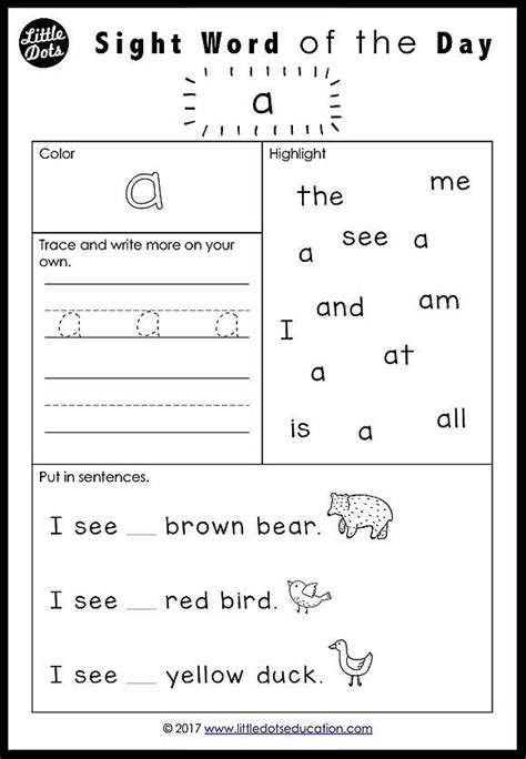 pre  dolch sight words worksheets set   images
