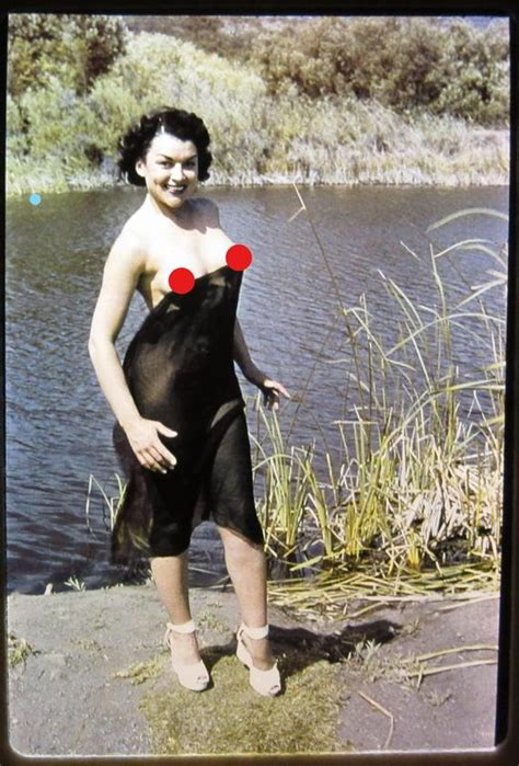 risque slide 1950s mature busty nudity woman topless adult il 35mm don