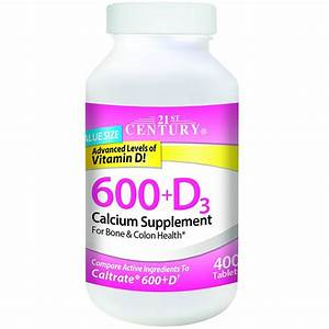 21st Century 600  D3 Calcium Supplement Tablets 400 Ea