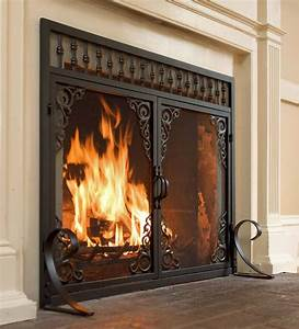 Small, Vintage, Fireplace, Screen, With, Doors, 38, U201dw, X, 31, U201dh