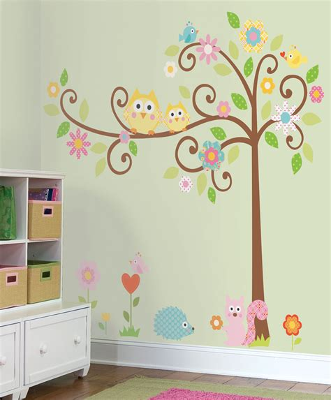 nature theme removable wall stickers for kids rooms nursery playroom classroom trees