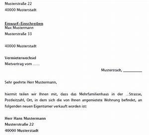 Neuer Mietvertrag Bei Bestehendem Mietvertrag : anzeige vermieterwechsel musterbrief zum download ~ Lizthompson.info Haus und Dekorationen