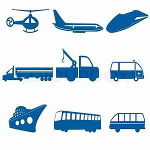 Illustration of transportation icons on white background ...