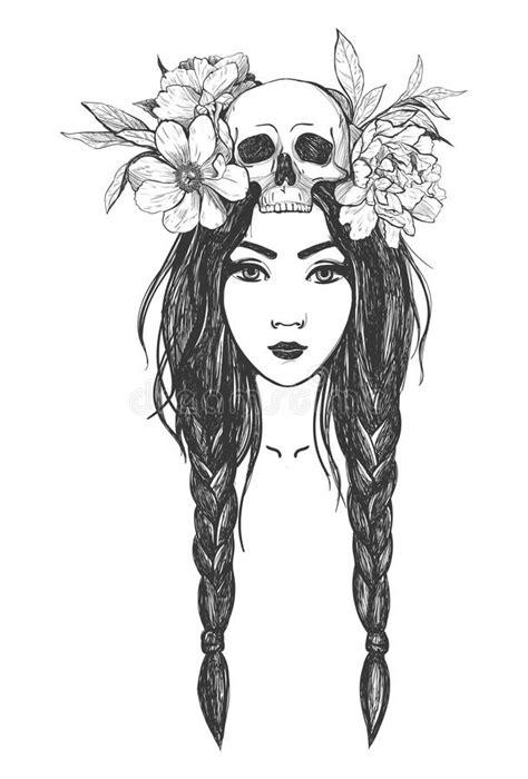 woman  skull flowers tattoo art stock vector illustration  coloring occult