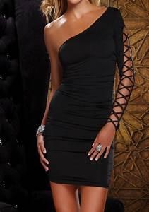 Eng Anliegende Kleider : schwarz one shoulder schn rung mode bodycon enges minikleid partykleid cocktailkleid ~ Frokenaadalensverden.com Haus und Dekorationen