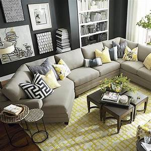 Living room furniture arrangement with sectional sofa for Sectional couch in small room